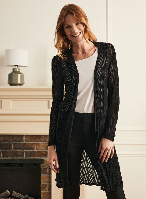 Pointelle Knit Cardigan, Black