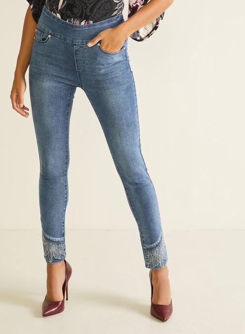 GG Jeans - Slim Leg Embellished Hem Jeans, Blue