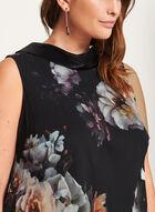 Robe trapèze fleurie et col chemisier inversé, Noir, hi-res