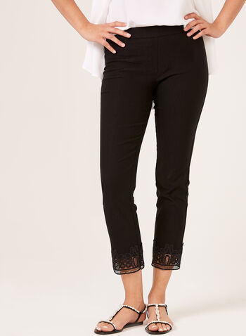 Pull-On Straight Leg Embroidery Detail Pants, Black, hi-res