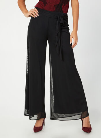Signature Fit Wide Leg Pants, Black,  mesh, sash, jersey, pull on