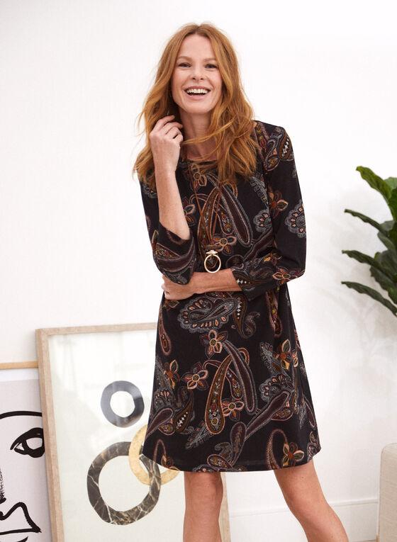 Robe trapèze à motif paisley, Noir