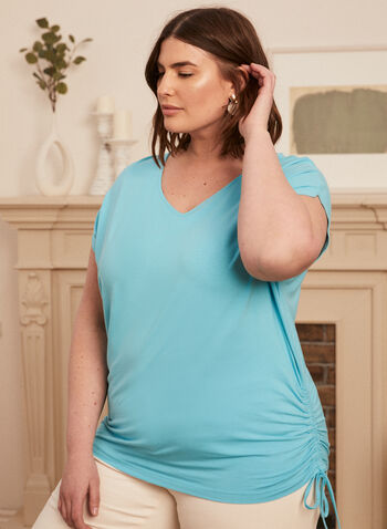 T-shirt à détail lien, Bleu,  t-shirt, manches courtes, lien, col v, printemps été 2020