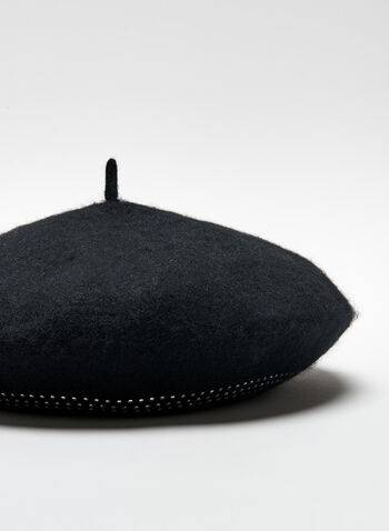 Studded Wool Beret, Black, hi-res