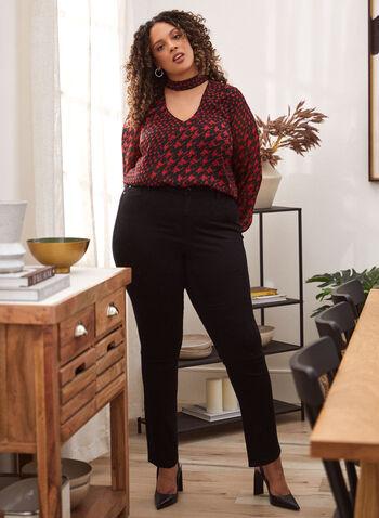 Jean à jambe droite à détail de cristaux, Noir,  pantalons, pantalon, bas, jeans, jean, taille mi-haute, jambe droite, bouton, glissière, ganses pour ceinture, poches, rivets métalliques, détail subtil, cristaux, denim extensible, automne hiver 2021