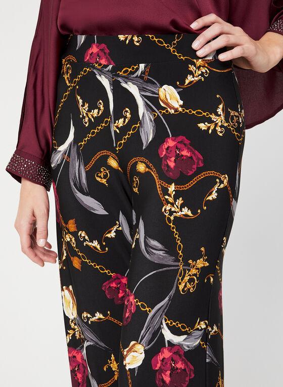Pantalon coupe moderne à motif floral, Noir