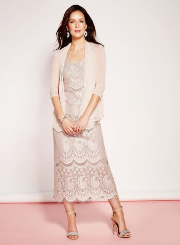 Lace Satin Gown with Mesh Bolero, , hi-res
