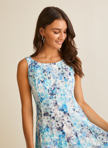 Bolero & Floral Dress Set, Blue,  dress, bolero, set, ensemble, floral, lace, knit, zipper, elbow sleeves, v-neck, scoop neck, spring summer 2020