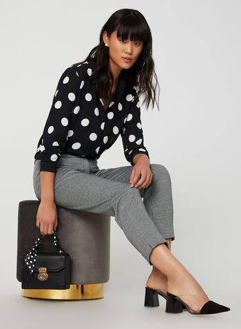 Modern Fit Slim Leg Pants, Black,  Fall 2019, winter 2019, houndstooth, slim leg, ankle length