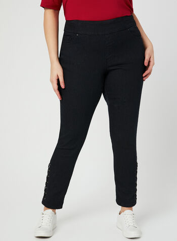 GG Jeans - Lace Up Slim Leg Jeans, Black, hi-res