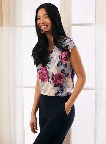 Floral Print Cap Sleeve Top, Blue,  spring summer 2021, tops, florals, blouse, made in Canada, round neck, print