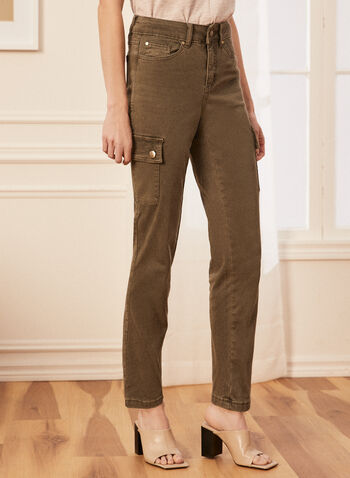Slim Leg Cargo Jeans, Green,  jeans, cargo, slim leg, high rise, pockets, denim spring summer 2020