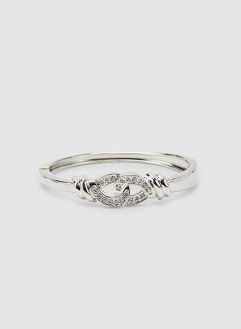 Crystal Embellished Bangle, Silver, hi-res