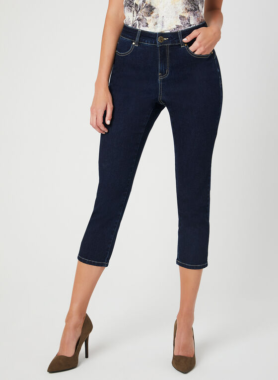 Modern Fit Slim Leg Capri Pants, Blue