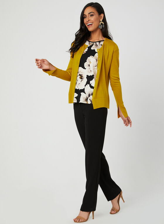 Long Sleeve Knit Cardigan, Yellow