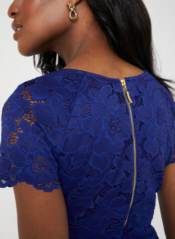 Floral Lace Midi Dress, Blue, hi-res,  lace, short sleeves, scalloped, scoop neck