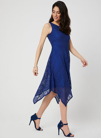 Sleeveless Lace Dress, Blue, hi-res