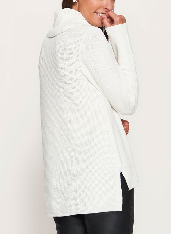 Cowl Neck Knit Sweater , Off White, hi-res
