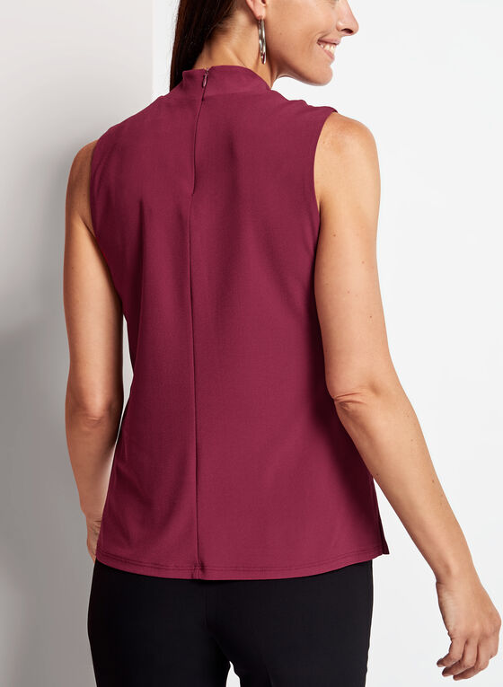 Sleeveless Crepe Knit Choker Top, Red, hi-res