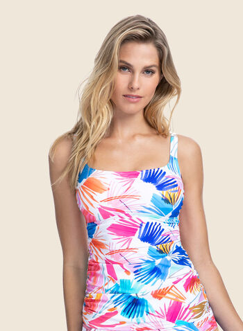 Profile by Gottex - Tropical Print Tankini & Bottom, Multi,  swimsuit, swimwear, bathing suit, print, tropical, two-piece, bottom, adjustable straps, tankini, tummy control, spring summer 2020