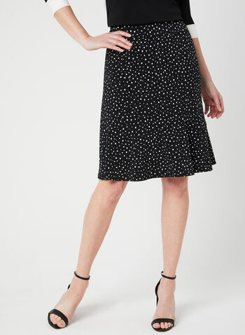 Polka-Dot Print Skirt, Black, hi-res