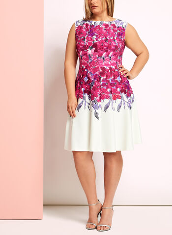 Floral Print Fit & Flare Scuba Dress, , hi-res