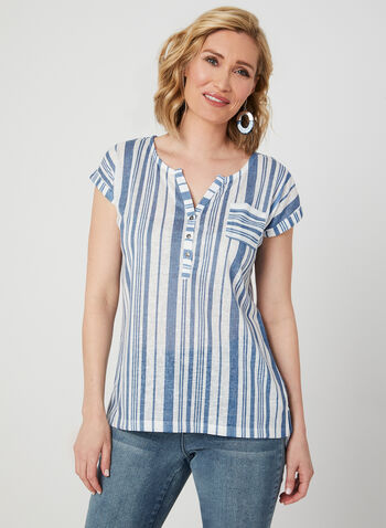 Stripe Print Linen Top, White, hi-res