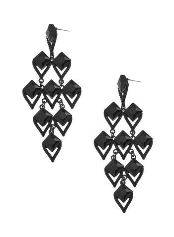 Diamond Shaped Chandelier Earrings, Black, hi-res