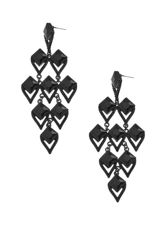 Diamond Shaped Chandelier Earrings, Black, hi-res