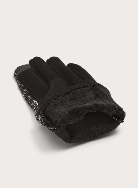 Gants en tricot avec pompon, Noir, hi-res