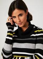 Stripe Print Cowl Neck Sweater, Green, hi-res