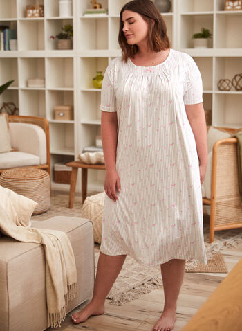 Stripe Print Nightgown, Off White,  spring summer 2021, sleepwear, night dress, pyjamas, pajamas, PJs, scoop neck, boat neck, crew neck, made in Canada, pleats, flowers, flowery