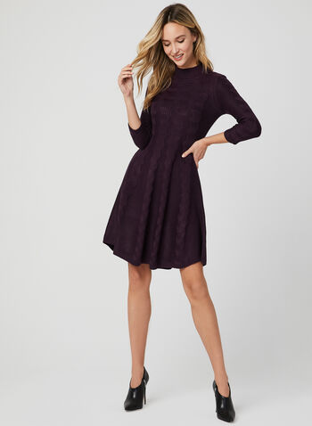 Sandra Darren - Fit & Flare Knit Dress, Purple, hi-res