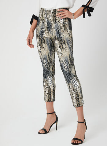 Animal Print Capri Pants, Black, hi-res