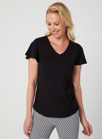 Flutter Sleeve T-Shirt, Black, hi-res,  ruffle, short sleeves, v-neck, jersey, spring 2019