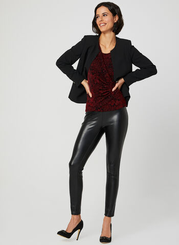 Front Drape Metallic Top, Red, hi-res