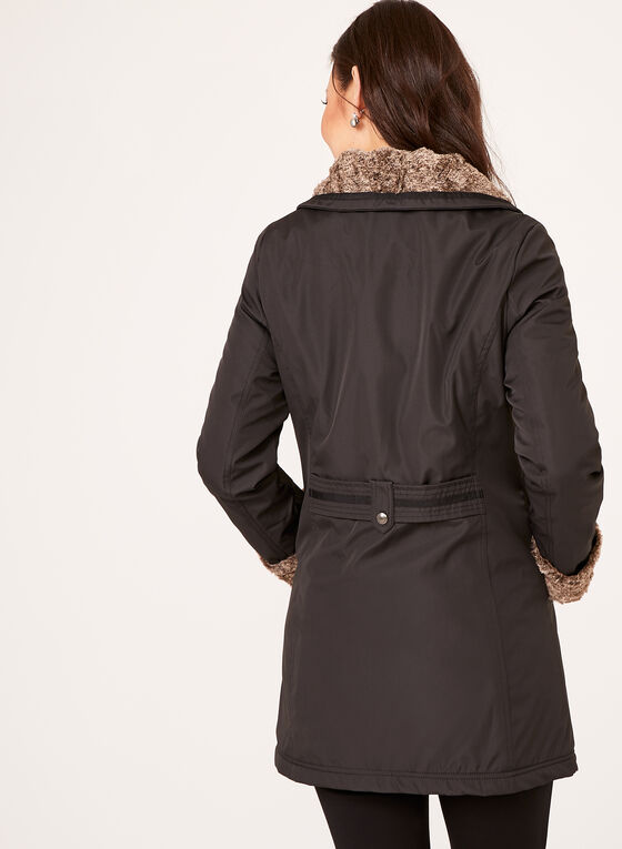 Weatherproof - Manteau avec col en fausse fourrure, Noir, hi-res