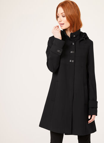 Removable Hood Water Repellent Trench Coat, Black, hi-res