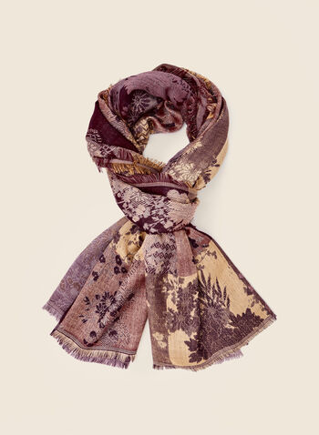 Floral Jacquard Scarf, Purple,  fall winter 2020, floral, jacquard, scarf, lightweight, pattern, flower, frayed, warm, soft, gift, holiday
