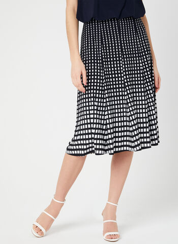 Geometric Print Gored Skirt, Blue, hi-res,  Canada, gored, jersey, spring 2019