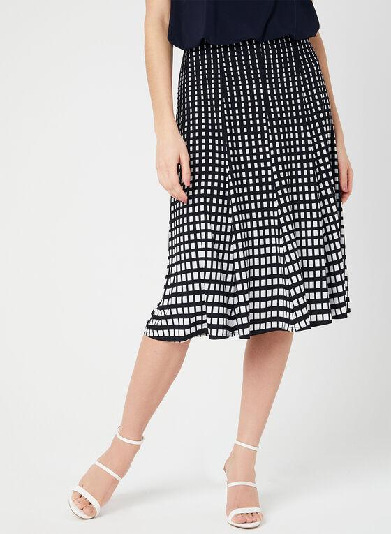 Geometric Print Gored Skirt, Blue