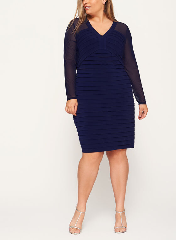 Illusion Sleeve Shutter Tuck Dress, Blue, hi-res