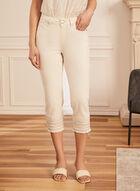 Embellished Hem Denim Capris, Off White