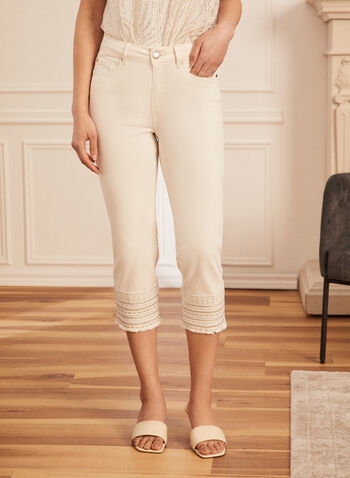 Embellished Hem Denim Capris, Off White,  capris, denim, pockets, embellished, sequins, frayed, signature, spring summer 2020