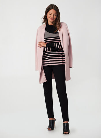 Stripe Print Sweater, Black,  fall winter 2019, long sleeves, stripe print, button details