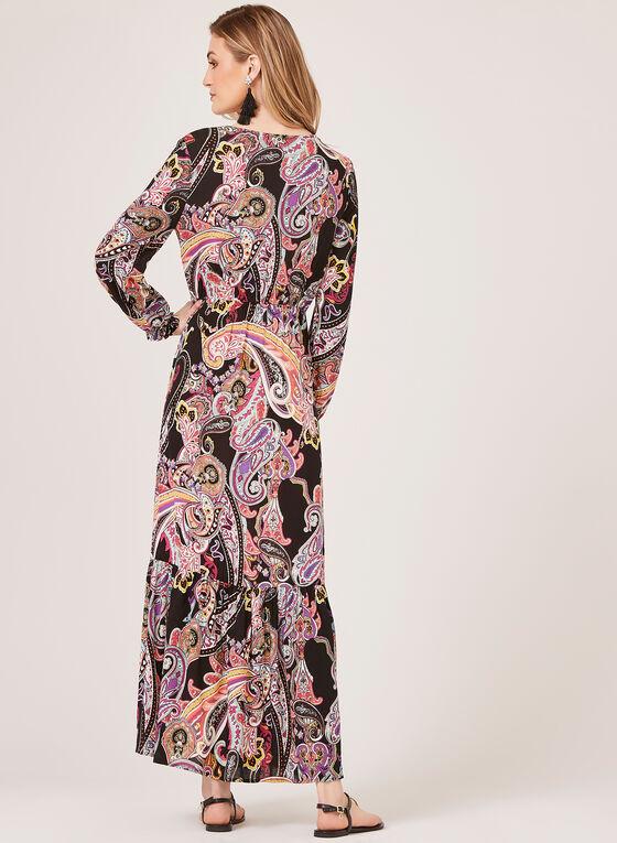 Robe maxi manches longues et motif tapisserie, Noir, hi-res