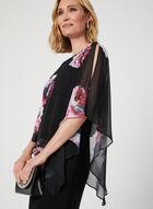 Robe poncho en mousseline fleurie, Noir, hi-res