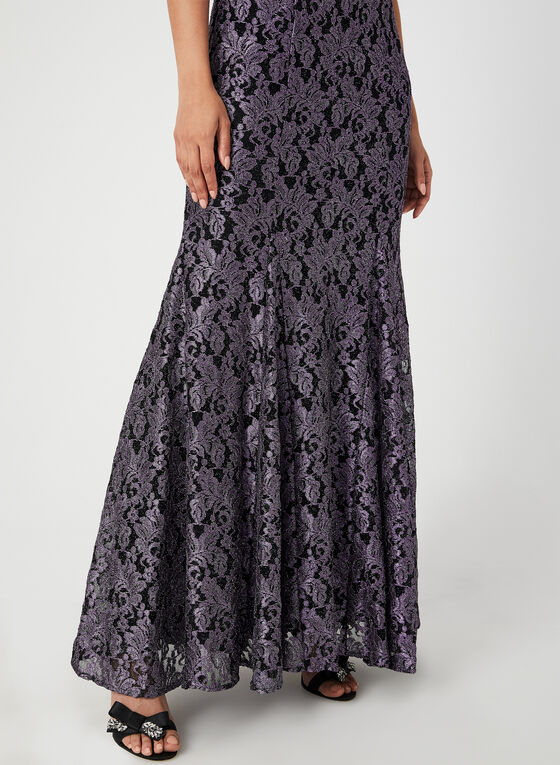 Glitter Lace Mermaid Dress, Purple