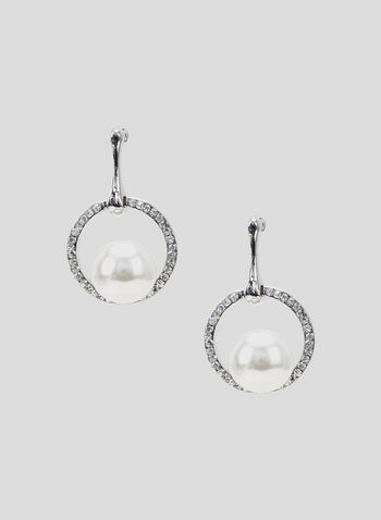 Pearl Drop Earrings, Off White, hi-res