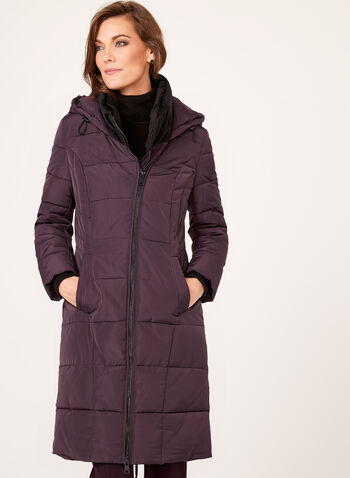 Novelti - Velvet Collar Faux Down Coat, Purple, hi-res